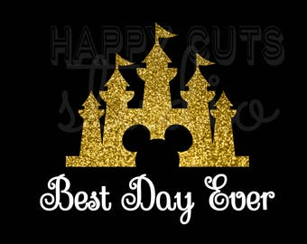 Best Day Ever with Disney Castle Glitter Matching Family Mickey Mouse Mom Cheer Squad Honeymoon Matching Family Disney Iron On Vinyl 4 Shirt