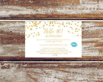 Hello 40 Insert card White and gold hello 40 printable insert card Gold confetti card