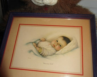 """Beautiful Vintage 9.5"""" x 7.5"""" Bessie Pease Gutmann """"Heavens Gift"""" Baby Print Picture 1932 *free shipping*"""
