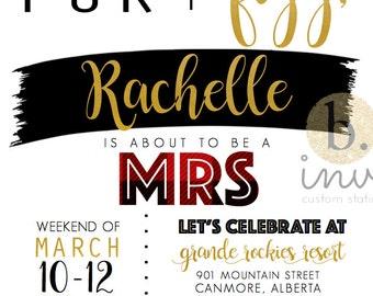 Plaid Bachelorette Party Invitation Customizable Print File