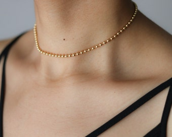 Ball Chain Choker Necklace - Statement Choker -Gold Choker - Layering Necklace - 90s Grunge - Simple Choker - Gold Necklace - Gift for Her