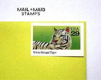White Bengal Tiger || Set of 5 unused vintage postage stamps