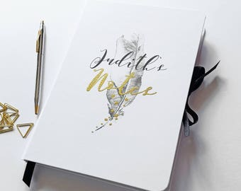 Large hand made personalised notebook/journal, in my 'Mono Luxe' feather design, personalised name in rustic gold