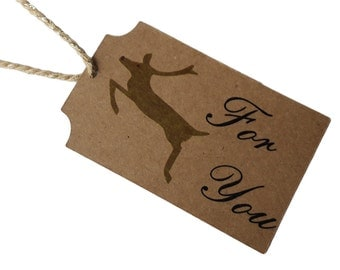 Set of 8 Christmas Flying Reindeer Gift Tag with Bakers Sparkle Twine