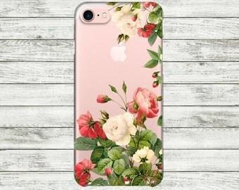 iPhone 7 case with design floral Roses iPhone 7 Plus case clear Transparent iPhone 5, 5s, SE, 6, 6s, 6 Plus Case Silicone iPhone case.