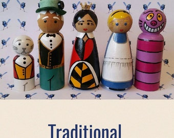 Wooden Peg Dolls - Alice in Wonderland