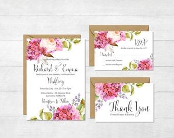 Hydrangea Printable Wedding Invitation Suite, Pink Floral Boho Wedding Invite, Floral Wedding Invite, Hydrangea Wedding, Download, 115-A