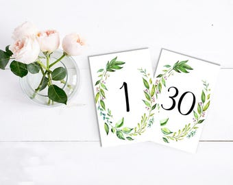 Botanical Printable Table Numbers, Greenery Wedding Table Numbers 1 - 30, Boho Table Numbers, 6 x 4 Printable Table Number, Download 105-A