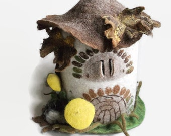 Rustic fairy tale garden house with hedgehog, felted fairytale castle, easter gift for children, lamp kidsroom decoration, night light kids