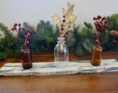 Small reclaimed Wood Board with Glass Jars Centerpiece