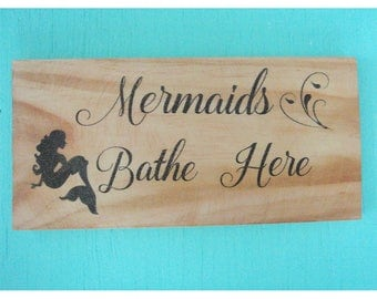 Mermaid sign - Beach bathroom sign -  Rustic bathroom sign - Mermaid decor - Coastal home decor - Beach decor - Housewarming gift