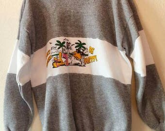 Vintage Cartoon Gray and White Stripe Color Block Sweatshirt - 80s 90s graphic athletic sweater duck disney plus size extra large xl happy