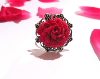 Ring, red ring, adjustable ring with red fabric flower, red flower ring, elegant ring, elegant ring with red flower