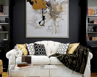 Handmade Extra Large Contemporary Oil Painting, Huge Abstract Canvas Art, Original Artwork.black White,Brown, gray,golden,Propylene painting