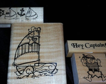 Nautical Wood Mounted Rubber Stamp Set Of 4 Craft Supplies Sailboat Pirate