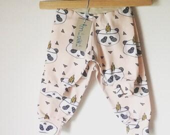 Baby panda/Panda pink/leggings/garment trousers / pants baby/break/Torganic break / harem pants/organic baby clothes/pink