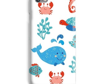 Whale iPhone Case, Cute iphone case, Crab iphone 6 case, Turtle iphone 6 case, Ocean iphone 6s case, Sea iphone case