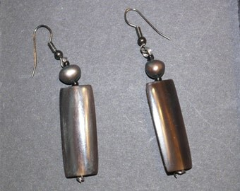Vintage Brown Plastic Drop Earrings