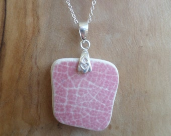 Pink Beach Pottery Sterling Silver Necklace Pendant, Northumberland, Sea Pottery, Beach Jewelry, Beach Pottery, Pottery Necklace