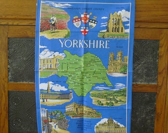 Vintage Yorkshire County Tea Towel, Travel Souvenir, Pillow Fabric, Frameable Art, Tablecloth, Reupholstering, Quilting Material, Made in UK
