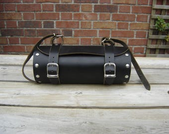 Sacoche cuir moto. Motorcycle bag. Vintage. France
