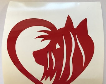 YORKIE Heart Decal - use on a Yeti, RTIC, or Ozark cup, Car window, Walls, Home Windows, Kennels - Valentine Schnauzer