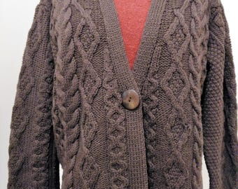 Vintage Brown Cable Knit Fisherman Sweater, Vintage Oversized Cardigan, Button Sweater, Merino Wool Fisherman Sweater