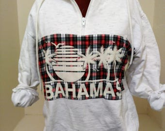 Vintage Bahamas Sweatshirt, Vintage Half Zip Sweatshirt, Plaid Graphic Sweatshirt, Vintage Sweatshirt