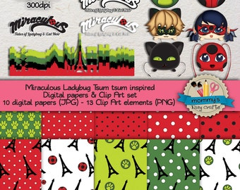 Digital Scrabooking Set - Miraculous Ladybug Tsum tsum inspired - 10 Digital papers (JPG) & 13 Clip Art (PNG) - 300dpi