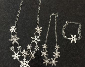 Set of 3 for SALE! Free shippingSnow flake necklace snowflake bracelet set of 3 snowflake necklace and bracelet