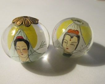 Vintage Chinese Kwan Yin, Goddess of Mercy, Hand-Painted Clear Globe Bead, 22m, Set of 2