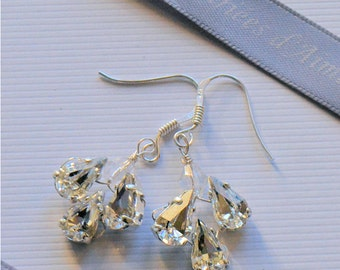 Bridal wedding earrings,Perfect charm earrings solid silver Swarovski crystal