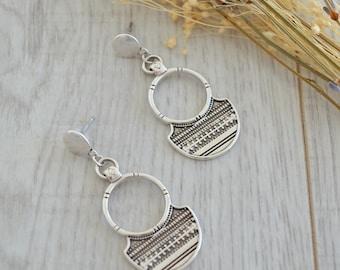 African Tuareg Shield Earrings, Silver dangle earrings, Bohemian Ethnic Tribal earrings, free people style earrings, silver Tuareg jewelry
