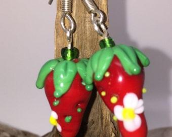 Earrings at Strawberry shape