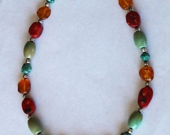 Vintage Sterling Silver Turquoise Necklace, Native American Multi Stone Necklace