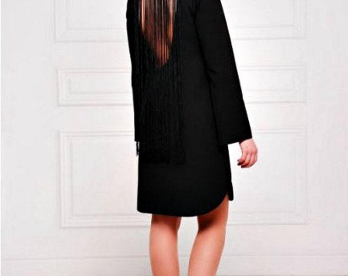 Little Black Dress, Open Back Dress, Fringe Dress