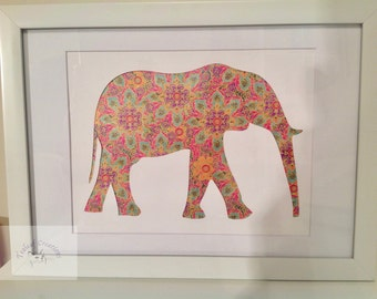 A4 - 4 designs of Elephant Silhouette Picture