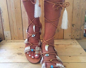 Ethnic Leather Sandals, Boho Sandals, Gladiator Sandals, Lace Up Sandals,  Made in Greece by Christina Christi Jewels.