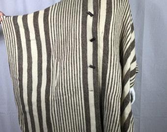 Vtg 70s striped wool avant garde dramatic  cape cloak coat poncho osfa