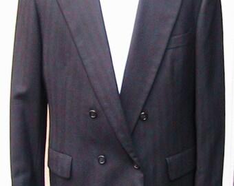 Size 42 70s SUIT Bill Blass HERRINGBONE Double Breasted Suit
