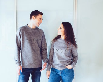 Will you marry me pullover hoodie, yes shirt, yes or no design, pullover sweatshirt, wedding proposal, cotton hoodie, cotton sweater