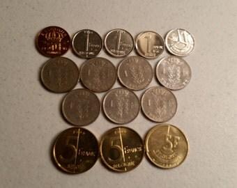 15 belgium belgique vintage coins 1951 - 1996 coin lot centimes franc - world foreign collector money numismatic a23