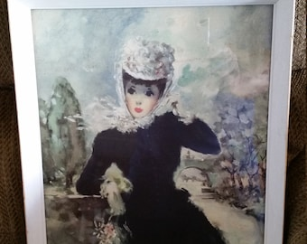 antique french fashion framed art litho print - victorian elegant lady in black dress floral hat bonnet gloves purse - woman photo picture