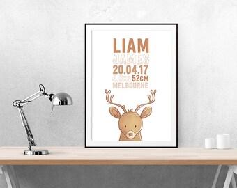 Nursery | Birth Announcement | DIY | Wall Art | Nursery Art | Printable | Nursery | Baby | Baby Announcement | Poster | Custom | Deer