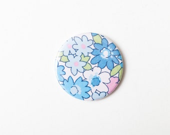 Blue, Pink and White Flowers - A Pocket Mirror made from Vintage Fabric, 58mm 2.3 Inches, Vintage Floral