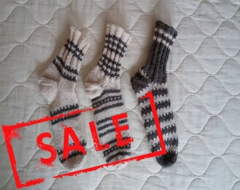 SALE!!! Pay two pairs of socks - take three, Socks - three pairs for the price of two, Hand knitted socks from 100% wool, feet warm,