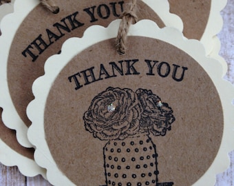 Rustic Thank You Tags/Cottage Style Thank You Gift Tags/All Occasion Rustic Style Thank You Tags/Favor and Treat Bag Tags/Set of 8