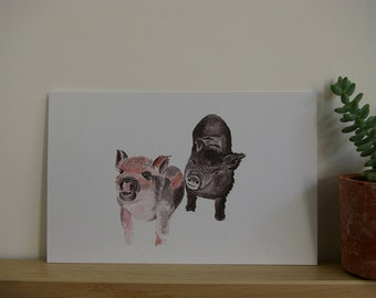Little pigs for parties and occasions in recycled paper card
