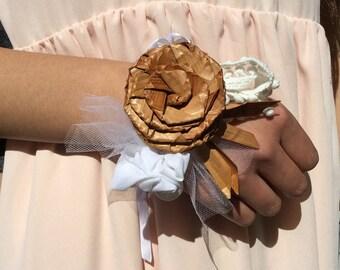Graduation corsage / Cedar bark rose corsage / rose corsage / flower bracelet / prom corsage