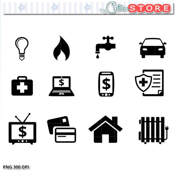 Rent Due Clip Art: Payments And Bill Due Icons Clipart. Silhouette Gas Rent